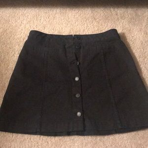 Black button-up, denim mini skirt